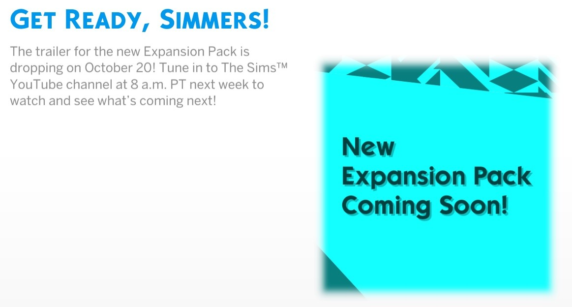 Next Sims 4 Expansion Pack's Trailer Coming October 20th! - The Sim Architect
