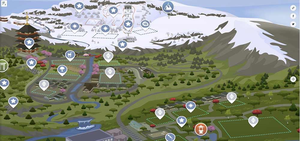 Sims 4 Snowy Escape Interactive Map