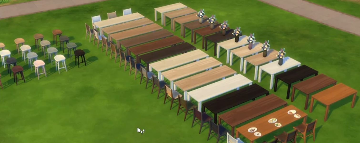 The Sims 4 21st Anniversary Update 1.71.86 New Woodgrain Tables, Chairs and Flowers