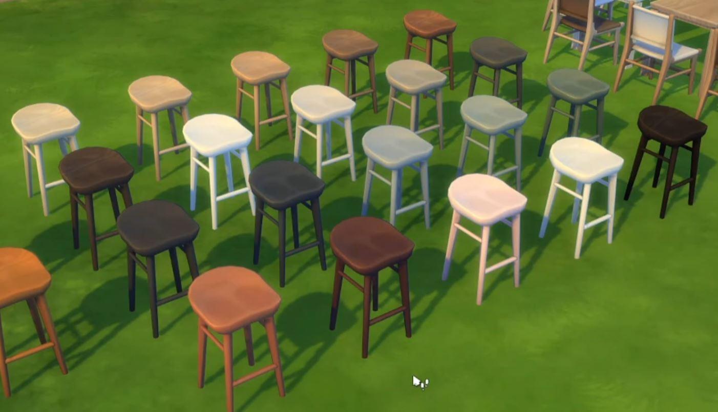 The Sims 4 21st Anniversary Update 1.71.86 New Woodgrain Bar Stools