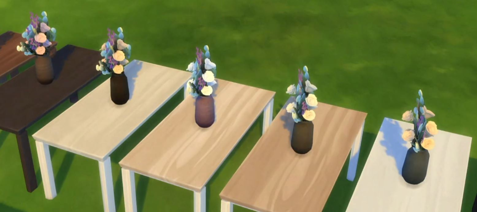 The Sims 4 21st Anniversary Update 1.71.86 New Flowers with Woodgran Vases on Top of the New Halcyon Woodgrain Dining Tables
