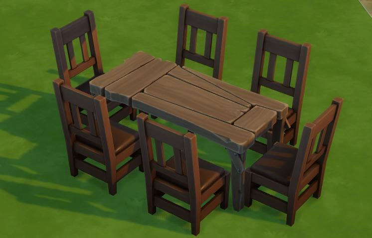 Sims 4 Secret Rustic Dining Table with Chairs
