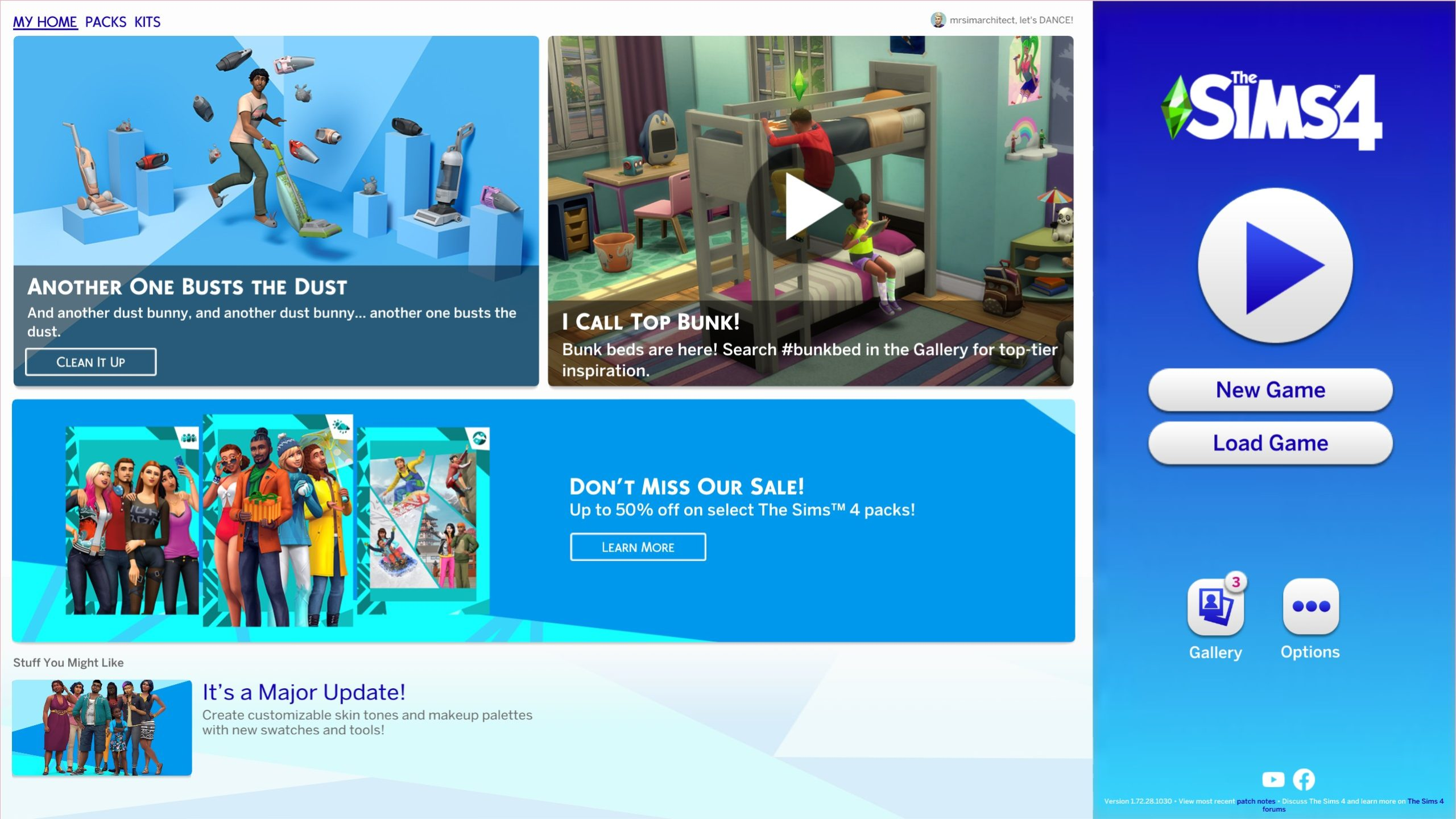 The Sims 4 1.72.28.1030 Title Screen
