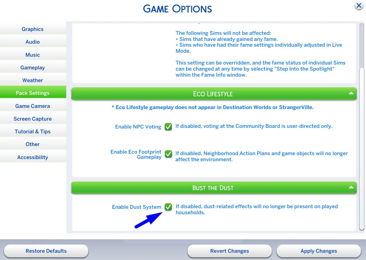 The Sims 4 Bust the Dust - Enable / Disable Dust System