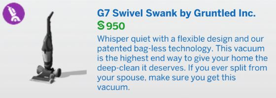 The Sims 4 Bust the Dust - G7 Swivel Swank Upright Vacuum