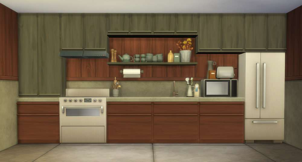 The Sims 4 Oak House [Gallery Kitchen View]