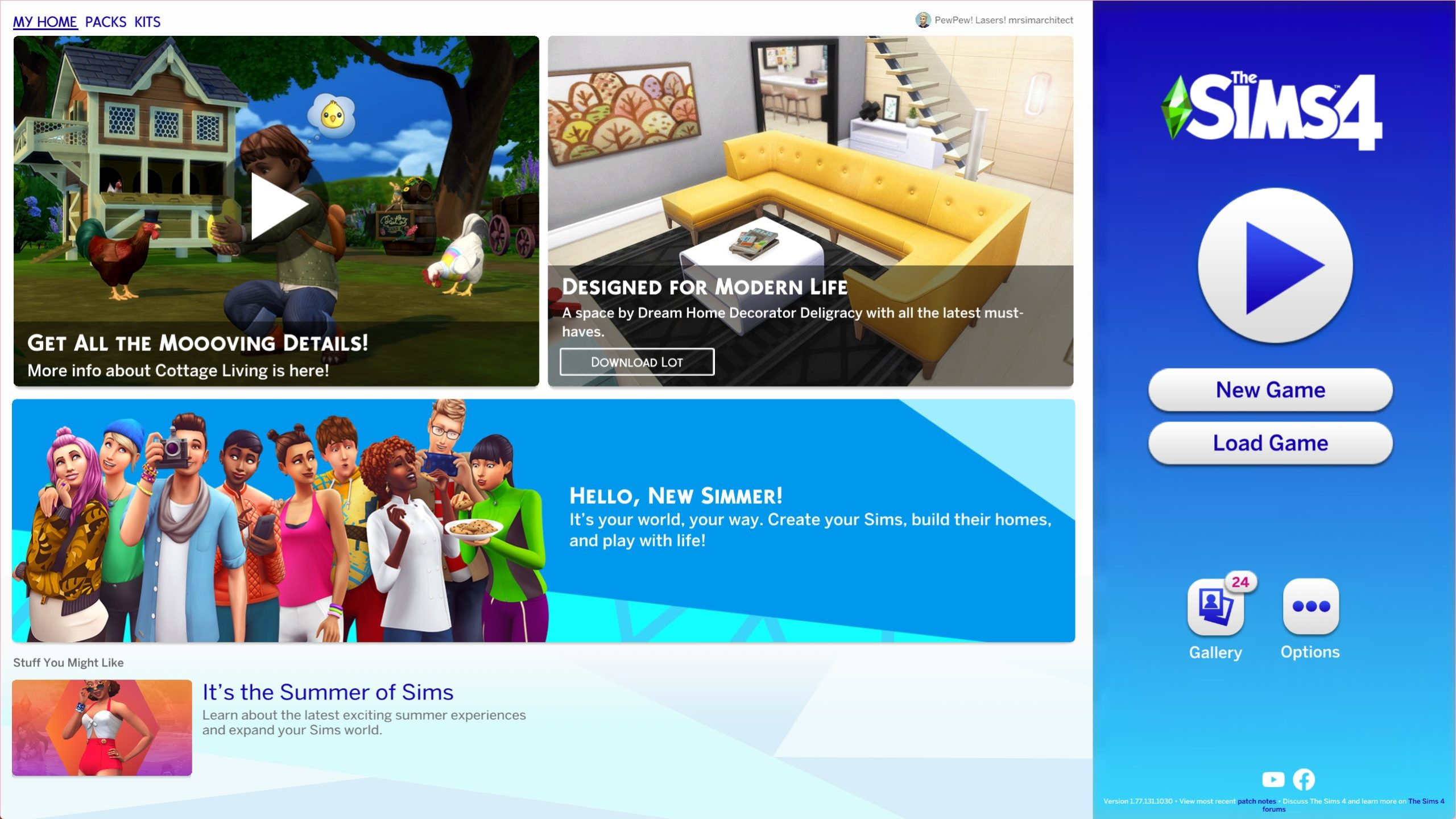 The Sims 4 1.77.131.1030 Title Screen