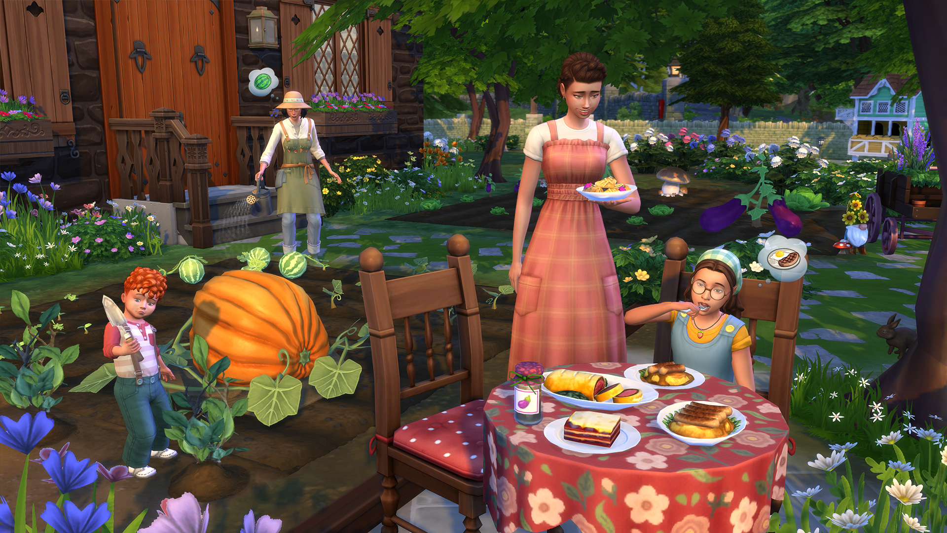 The Sims 4 Cottage Living - Family Meal Outdoor in the Farm Garden
