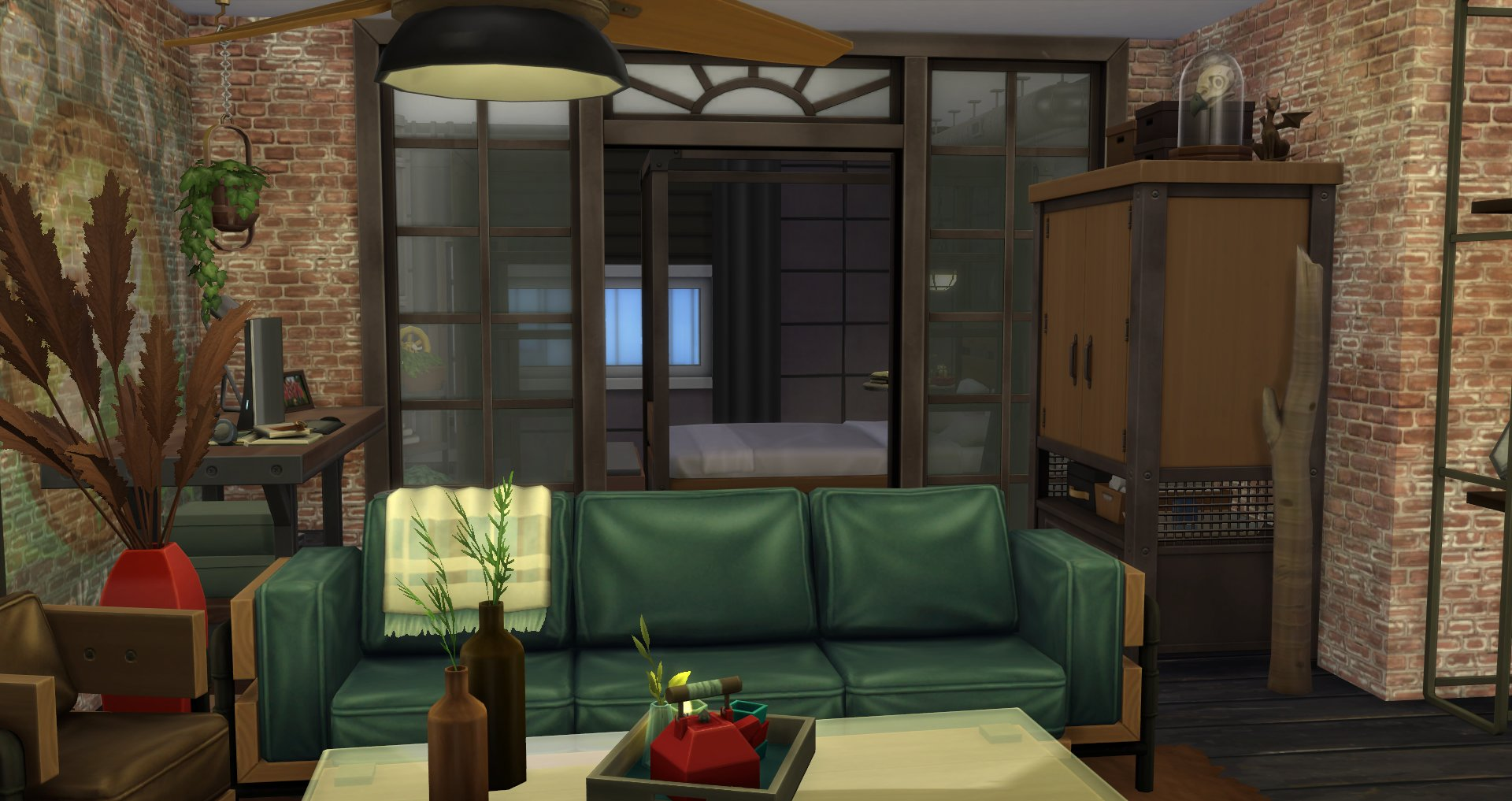 The Sims 4 Industrial Kit - Living Room Leather and Wood Couch