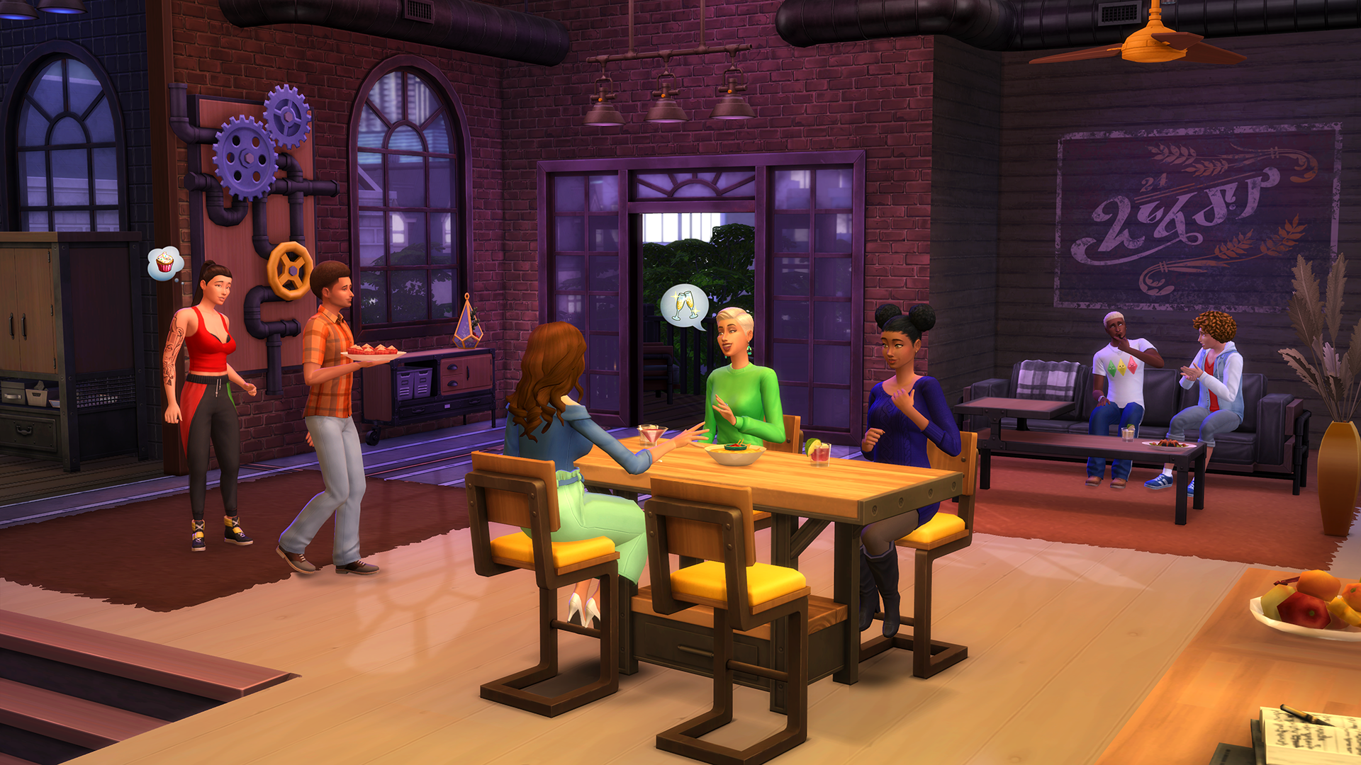 The Sims 4 Industrial Loft Kit - Dining Area with Sims Having a Party