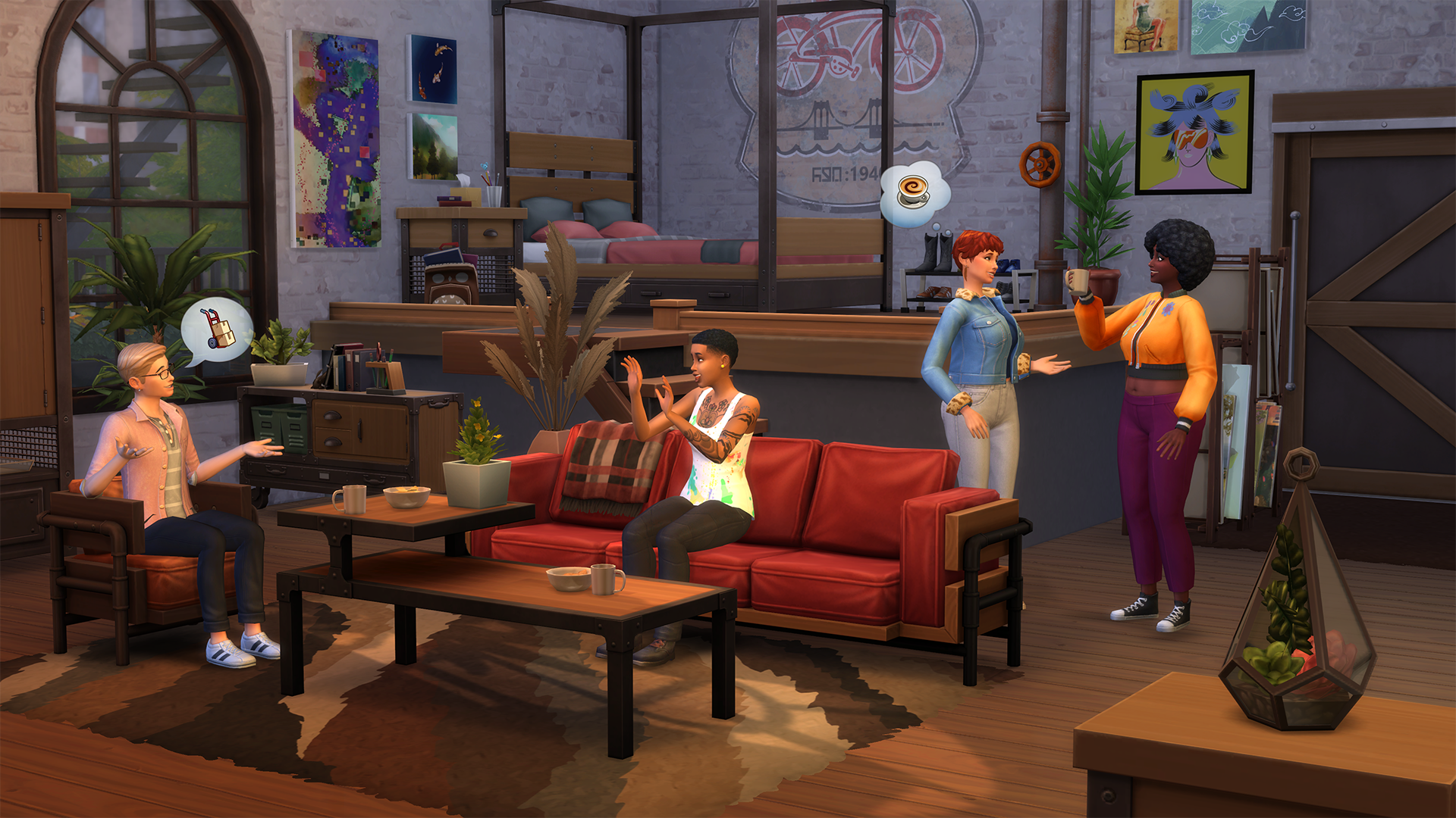 The Sims 4 Industrial Loft Kit Living Space with Guests Enjoying Life