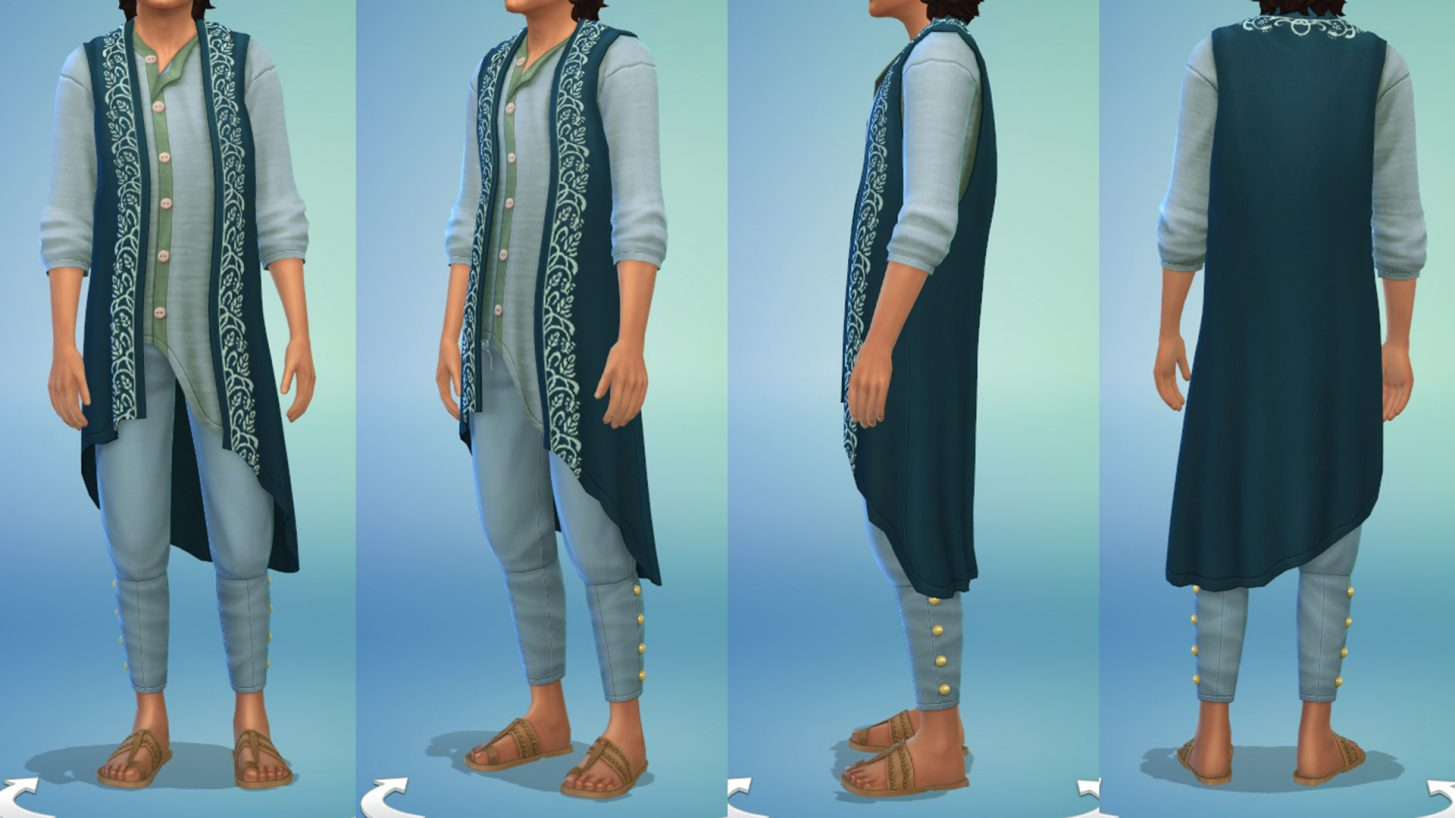 The Sims 4 Fashion Street Kit - Asymmetrical Vest and Sandals