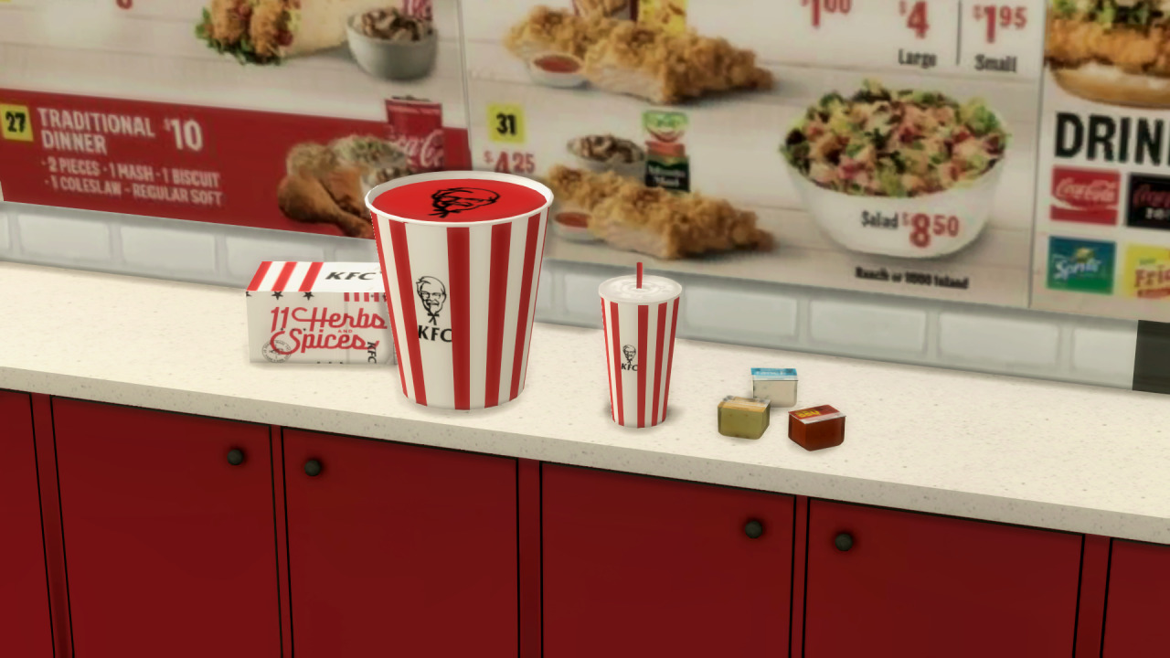 The Sims 4 KFC - Counter with Chicken Bucket, Box, Drink and Sauces/Spices - Prices in the Background
