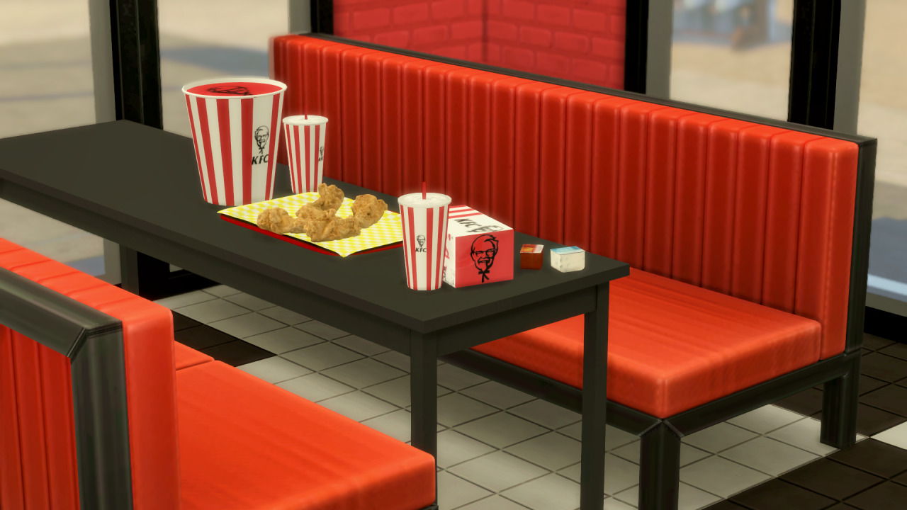 The Sims 4 KFC - Booth with Food