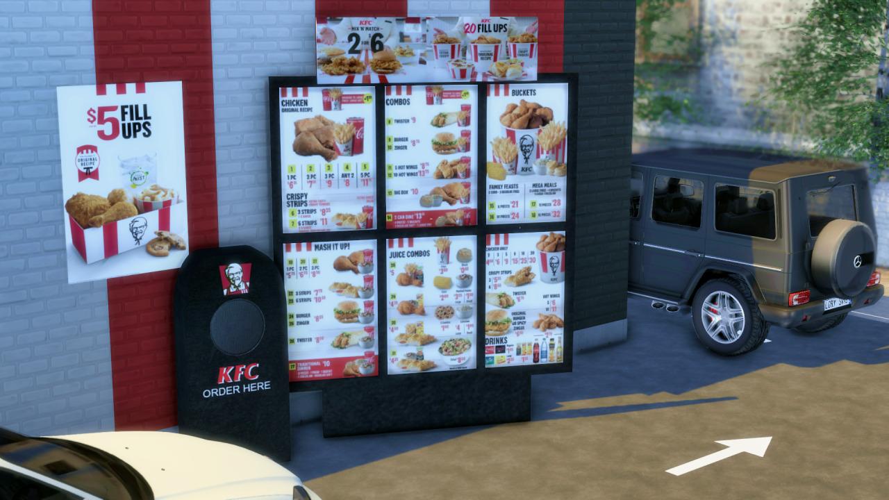 The Sims 4 KFC - Drive Thru with Price List