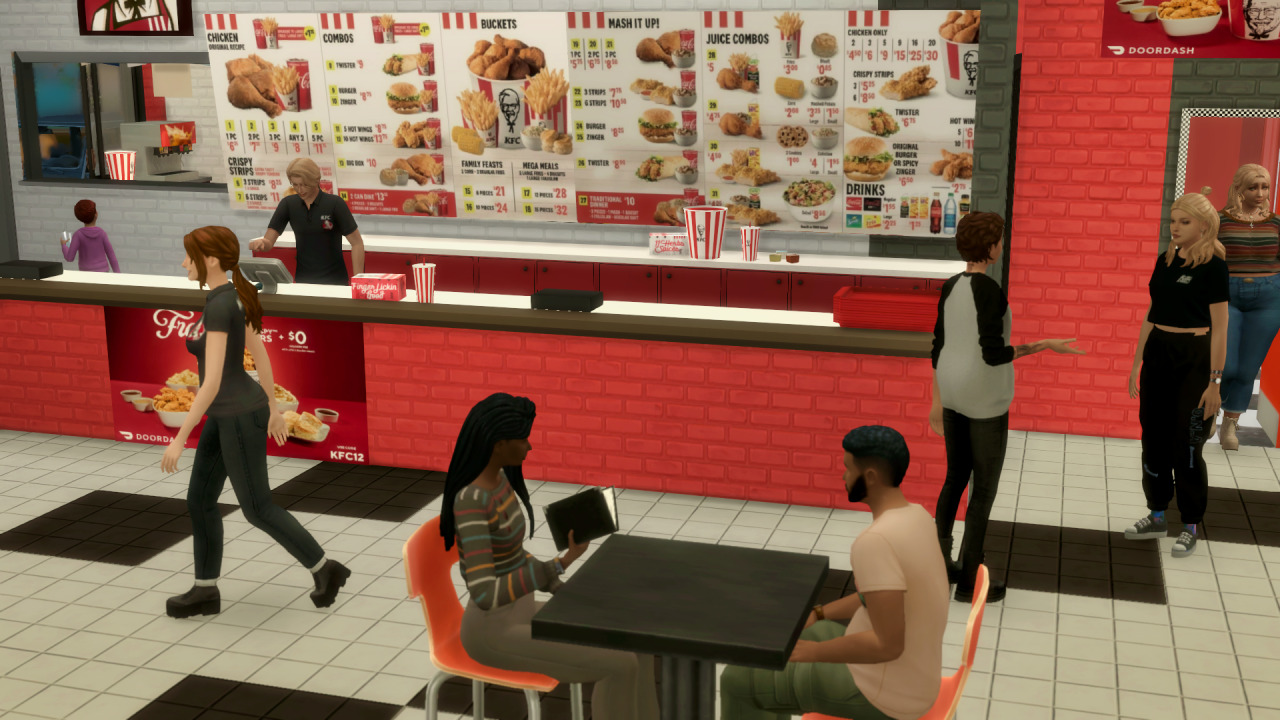 The Sims 4 KFC - Front Desk with Price List, Waiters and Customers