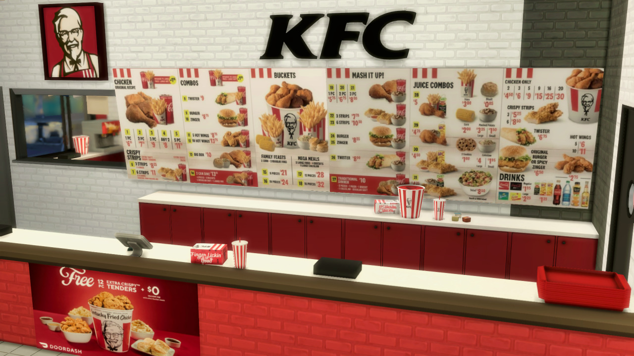 The Sims 4 KFC - Front Desk with Price List